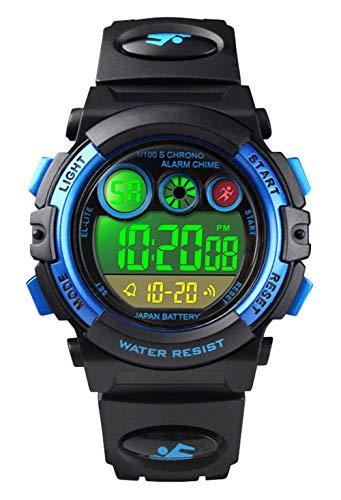 Relojes de Pulsera para niños, Reloj Digital a Prueba para niños a 50 m con 12/24H...