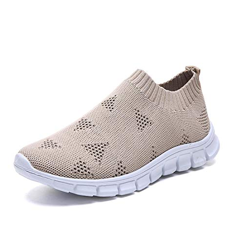 HupoopFreizeit Frauen Outdoor Mesh schnüren Sich Oben Sportschuhe Laufen atmungsaktive Schuhe Turnschuhe(Khaki,43)
