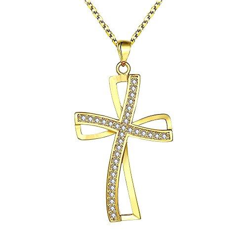 Veuer Schmuck für Damen in Gold Edle Kreuz Hals-Kette Vergoldet Jesus Geschenk zu Weihnachten für die Frau/Freundin / Frauen