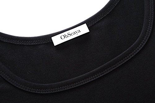 OhSeaya Damen Einfache Beiläufiges Langarm Basic Kleider Falten Stretch Freizeitkleid Knielang Langarm__Schwarz