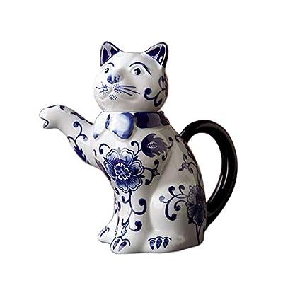 Théière En Bouilloire Théière Pour Chat En Émail Réactif En Porcelaine Bleue Et Blanche 490Ml