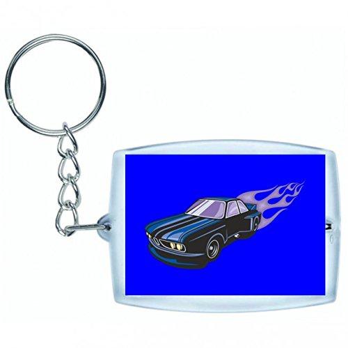 "Schlüsselanhänger ""Blauer Sportwagen Breitbau mit lila Flammen America Amy USA Auto Car Luxus Breitbau V8 V12 Motor Felge Tuning Mustang Cobra"" in Blau | Keyring - Taschenanhänger - Rucksackanhänger - Schlüsselring"
