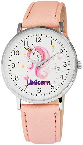 Excellanc llanc Mujer Reloj Blanco Piel Unicorn Unicornio Rosa Niños Reloj Reloj de Pulsera