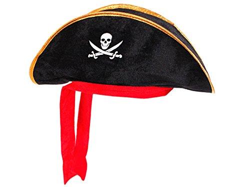 Alsino Dreispitz Piraten Hut mit rotem Band & Totenkopf Emblem (Ph-03) - Farbe: schwarz Gold, One Size Größe für Erwachsene - Piratenhut Sparrow Jack