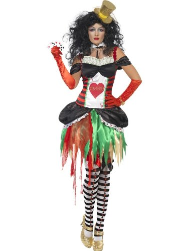Sieben 7 Todsünden Seven Deadly Sins Habgier Geiz Damenkostüm Kostüm für Damen Halloween Halloweenkostüm Fasching Karneval Poker Karten Glücksspiel Gr. 36/38 (S), 40/42 (M), 44/46 (L), Größe:M (Deadly Dames Kostüm)