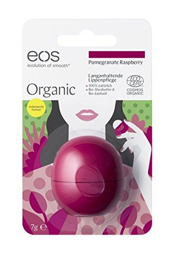 eos Organic Lip Balm Pomegranate Raspberry, natürliche Lippenpflege, Lippenbalsam mit Jojoba-Öl, feuchtigkeitsspendende Pflege, Naturkosmetik, 1 x 7 g - Lips Himbeere