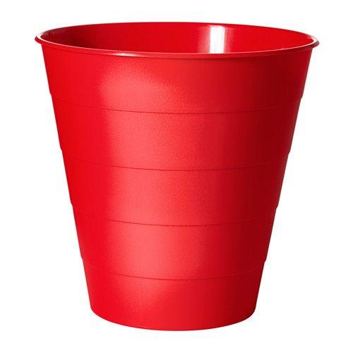 """IKEA Papierkorb """"Fniss"""" Mülleimer aus Polypropylen - WEISS, ROT oder SCHWARZ- Durchmesser: 28 cm - Höhe: 28 cm - Inhalt: 10 l (rot)"""