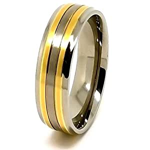 7mm Titanium Wedding Band with Dual Golden Coloured Lines Size H