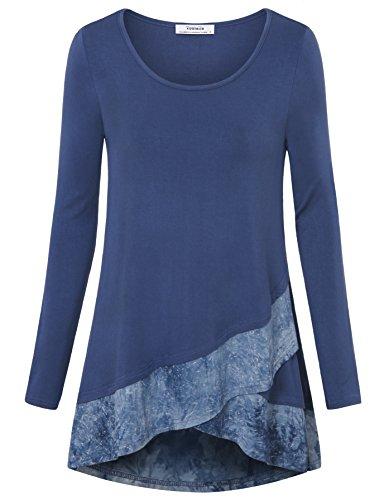 Youtalia Damen Shirt Langarm, Frauen Autumn Langarm Shirt mit Stickereien Shirt Batik Gekreuzter Saum Lockerer Sitz Tunika Blusenkleid (Blau Grau, Größe L) (Silhouette Batik)