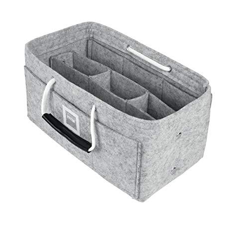 FFITIN Taschenorganizer Filz - Handtaschenorganizer mit Tragegriffen | Bag in Bag | XL Handtaschenordner (Cement Gray, L - Large (28 x 15 x 15 cm))