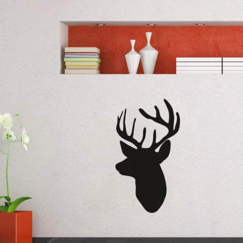 WWYJN Animal Art Wall Mural Deer Head Silhouette Design Vinyl Wall Sticker Living Room Home Decor Wall Decals  59x104cm