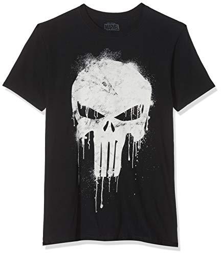 Marvel Herren Avengers Punisher Skull T-Shirt, Schwarz (Black Blk), (Herstellergröße: Large)