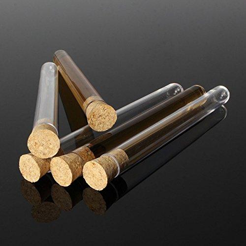 ChaRLes 50 stücke 16x150mm 20 ml Kunststoff Reagenzglas Mit Korken für Labor Lagerung