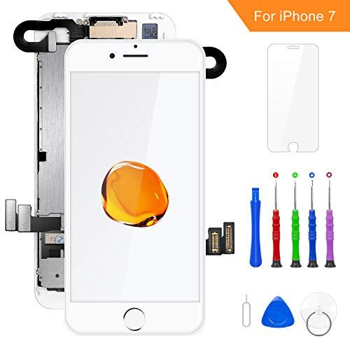 FLYLINKTECH Für iPhone 7 Display Weiß, Ersatz Für LCD Touchscreen Digitizer vormontiert mit Hörmuschel, Frontkamera Reparaturset Komplett Ersatz Bildschirm mit Werkzeuge Lcd-display