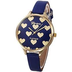 Vovotrade lleno de corazón de oro amante de las mujeres de gran dial de cuero de imitación reloj de pulsera de cuarzo (Azul)