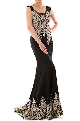 MACloth Mermaid Satin Evening Formal Gown Wedding Party Dress Luxury Gold Lace (54, Schwarz) -