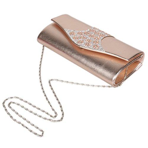 Damara® Mode Damen Kunstleder Abendclutch Strass-Dekor Handtaschen Silber