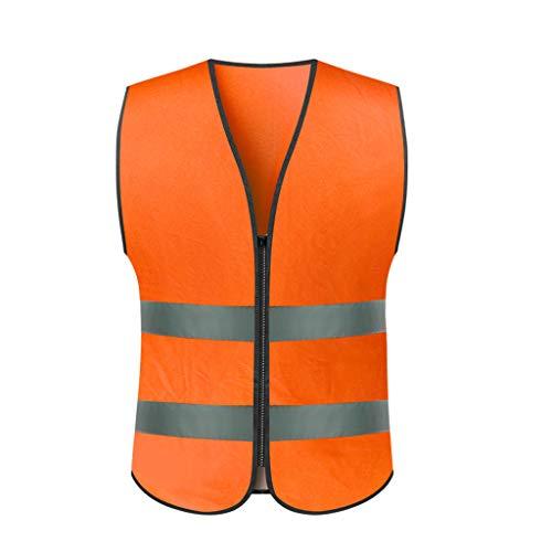Nachtreiten reflektierende Kleidungsarbeit reflektierende Weste Verkehrsbau Warnweste Sicherheitskleidung (Color : Orange, Größe : L) -