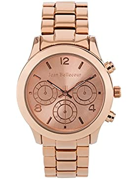 Jean Bellecour–reds9–mit Techni Damen-Armbanduhr 045J699Analog weiß–Armband Gold Pink Rosa