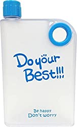 1 Pc Flat Reusable BPA-Free Portable Notebook Style Ultra Slim Water Bottle,DO Your Best Memo Bottle 380ML