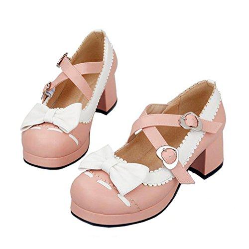 ENMAYER Femmes Chaussures à Talons Hauts à Talons Hauts Mary Janes avec Bowtie Rose(Cross)