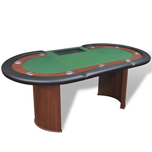 vidaXL Pokertisch für 10 Spieler mit Dealerbereich und Chipablage Grün - 4