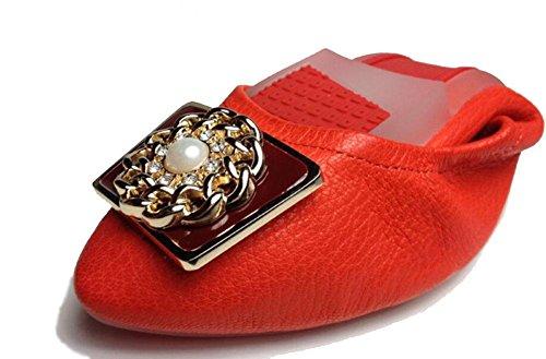 SHINIK Frauen Fold Up Ballett Pumps geformt Metall gekn枚pft Leder Schuhe Tanzen Schuhe S眉脽igkeiten Serie Falten Auto Schuhe Red