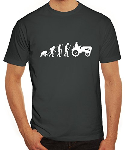 Lustiges Herren T-Shirt Evolution Traktor, Größe: XXL,darkgrey