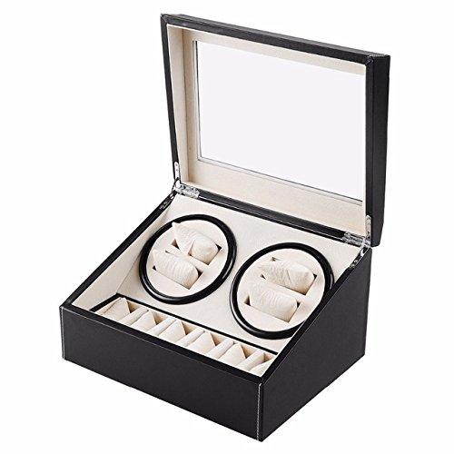 L.HPT® 4 + 6 Holz Uhrenbeweger, Doppel Uhrenbeweger mit Leise Motor, [100% Handarbeit] (Motor Freiheit)