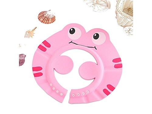 Gemütlich Frosch Muster Baby Shampoo Kappe einstellbar waschen Haar Hut Bad Dusche Hut für Kinder (rosa) zum Baden