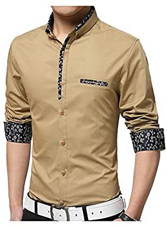 Parth Fashion Hub Men's Cotton Fancy Shirt Casual Full Sleeve Gold