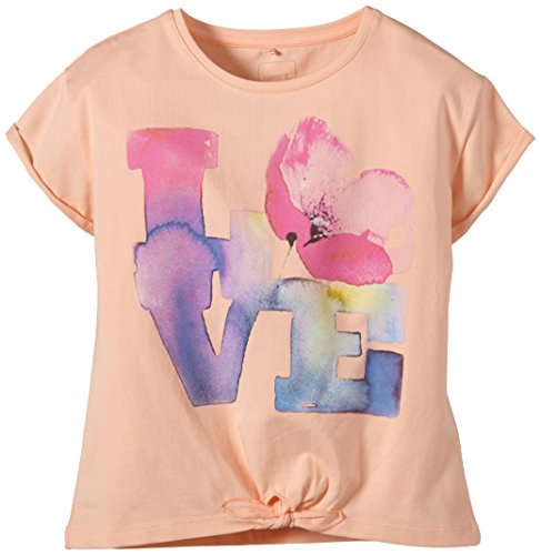 NAME IT - Henette Kids Capsl Short Top 215, T-shirt per bambine e ragazze, arancione (tropical peach), 134 (Taglia produttore: 134-140)