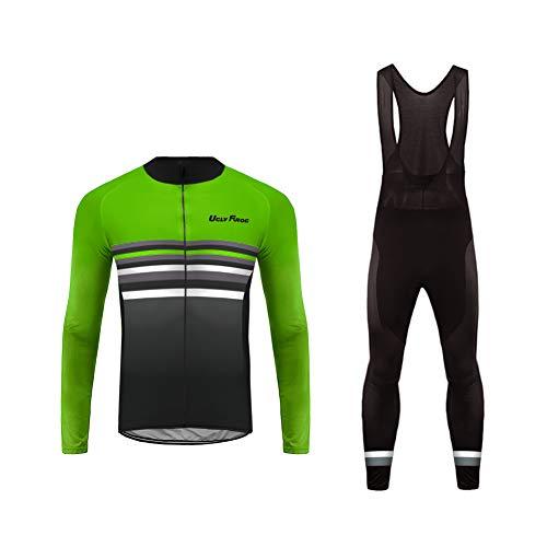 Uglyfrog Bike Wear Radtrikot Fahrradbekleidung Set Kurzarm/Langarm Winddicht Herren Thermische Fleece mit 3D Polster Hosen Anzüge -