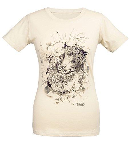 wildlife-shirts Igel Damen T-Shirt Igel-Motiv in beige Größe M