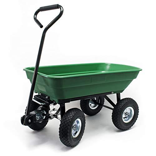 WilTec Carrito jardín basculante, Capacidad 125l, Carga 350kg, Carretilla de Transporte Carro de Mano