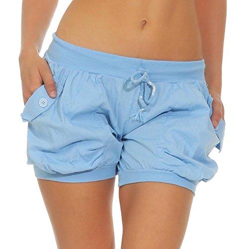 Malito Damen Shorts in Unifarben | Lässige Kurze Hose | Bermuda für Den Strand | Pants - Hotpants 6087 (Hellblau, XL)