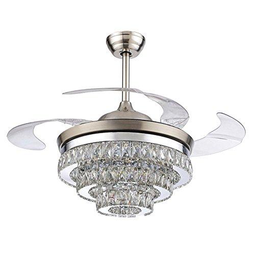 Jykj ventilatore a soffitto in cristallo a led - 42 pollici, lampadario silenzioso con telecomando a ventaglio con camera da letto al chiuso a scomparsa a quattro alette