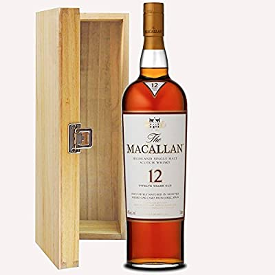 The Macallan Sherry Oak 12 Year Old Single Malt Whisky 70cl Bottle in Hinged Wooden Gift Box with Hand Crafted Gifts2Drink Tag