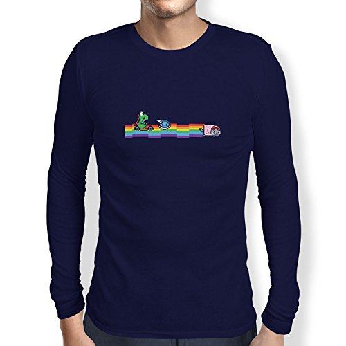 TEXLAB - Cat Kart Rainbow - Herren Langarm T-Shirt Navy