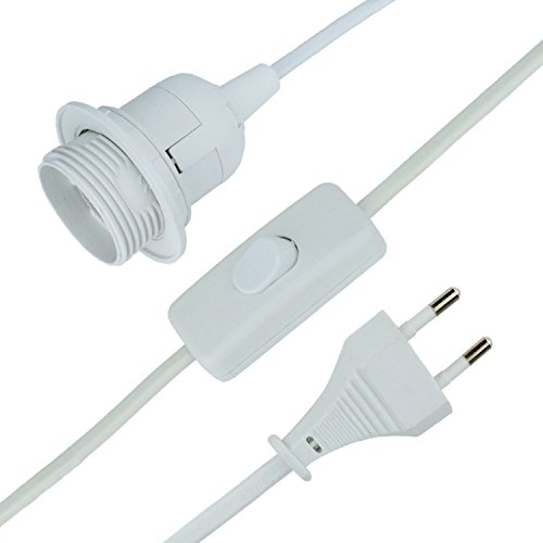 MAILUX E27-Lampenfassung mit Kabel | 3,5m Netzkabel | Stecker | mit Schalter | weiß | Renovierfassung | Baufassung | E27 Lampe | LED geeignet -