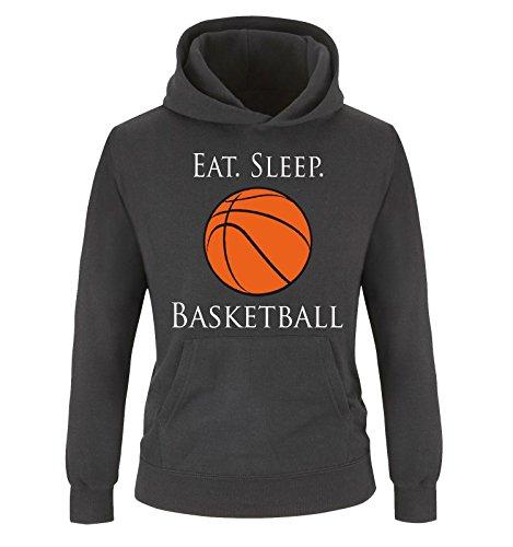 Comedy Shirts - EAT. Sleep. Basketball - Kinder Hoodie - Schwarz/Weiss-Orange Gr. 152/164