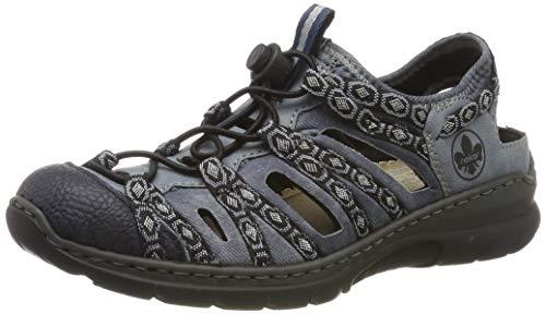 Rieker Damen L32P8-14 Sneaker, Blau (Pazifik/Adria/Denim/Schwarz-Grau 14), 39 EU - Damen Klett Sneaker