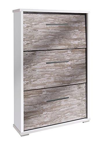 OVERHOME365 2182 B/V - Zapatero, madera, color blanco y vintage, 76x26x110.5 cm