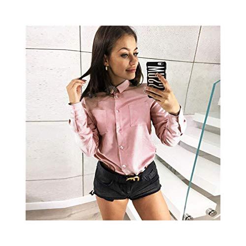 Chiffon Women Office Shirts Long Sleeve Casual Solid Blouse Turn Down Collar Shirt -