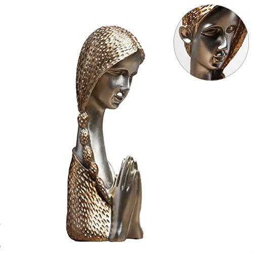 LOVEU Beten Mädchen Statue Dekor, Gebet Figur Dame Skulptur Vintage Dekoration Für Wohnzimmer Schlafzimmer Home Office Geschenke Für Kinder Papa Familien-golden 10x10x34cm(4x4x13inch) (Gebet Für Die Halloween-tag)