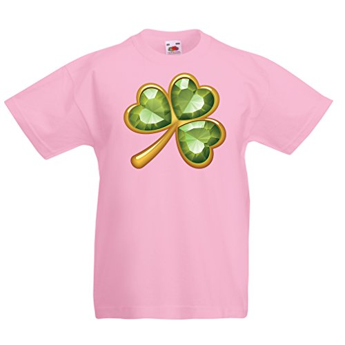 Kinder T-Shirt Irish shamrock St Patricks day clothing (9-11 years Pink Mehrfarben)