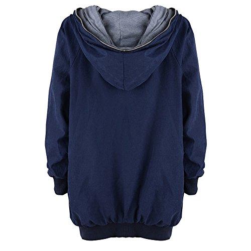 Femme Longue Automne Hiver Grande Taille à Capuche Manches longues Chaud Zipper Cardigan Blouson Manteau Casual Veste Bleu