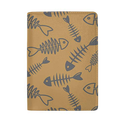 Niedliche Skeleton Fish Blocking Print Passinhabers Hülle Reisegepäck Passport Wallet Kartenhalter Aus Leder Für Männer Frauen Kinder Familie Fishbone Case Cover