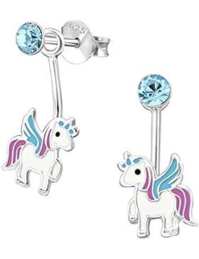 GH* Kleine Wackel Kristall Einhorn Ohrstecker 925 Echt Silber Pferd Kinder Mädchen Ohrringe Pegasus