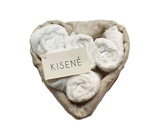 Kisene' set spugna lavette 5 oppure 6 asciugamano viso cm 30x30 con cestino in vimini - idea regalo (cestino a cuore da 5 pezzi, bianco)